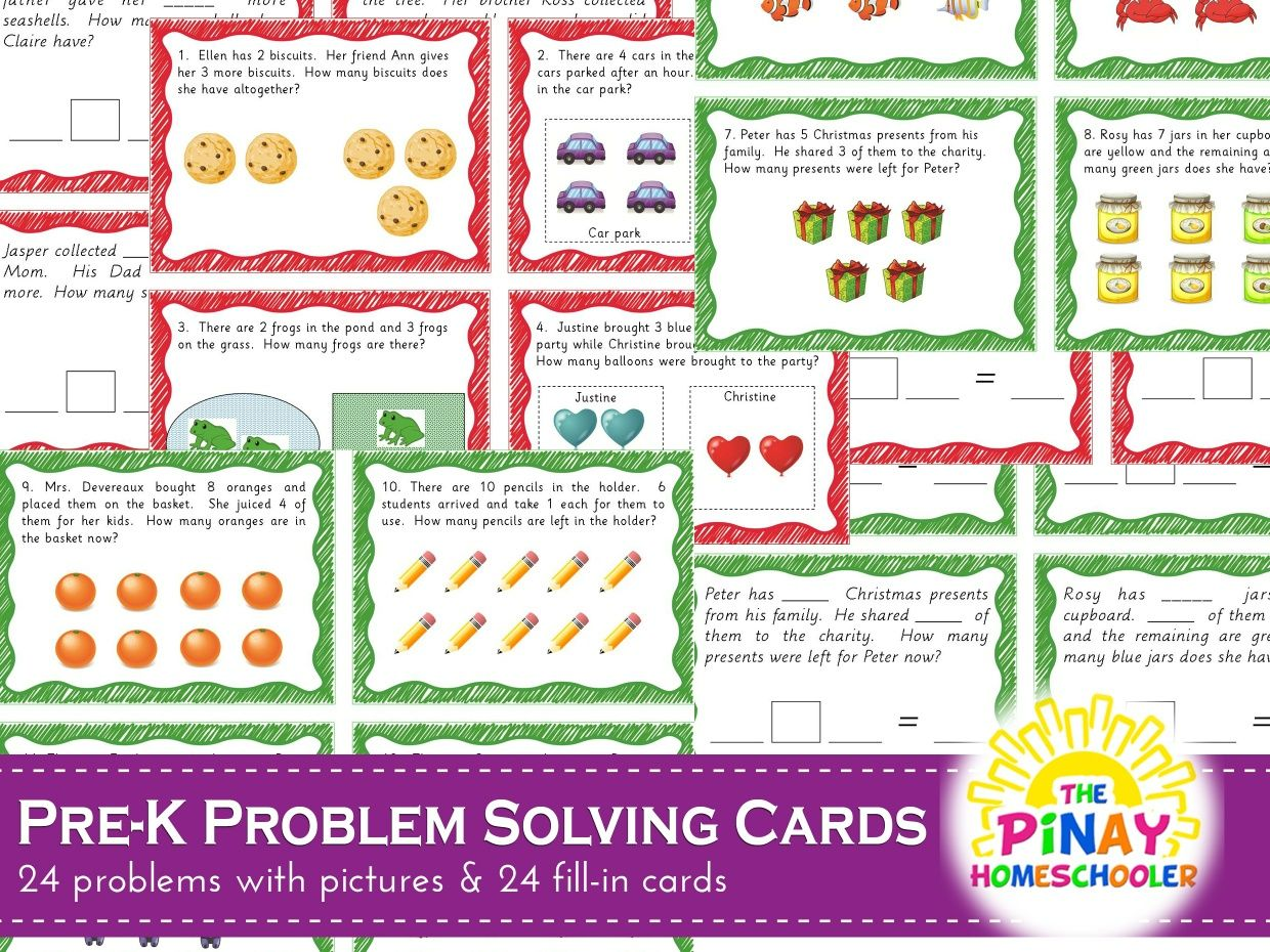 Pre K Addition And Subtraction Problem Solving Cards