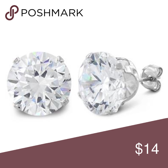 8 Ct Sterling Silver Cz Stud Earrings 10mm Not Ll Height 10mm Width 10mm Thickness 7mm Stone Material Clear Cz Stud Earrings Stud Earrings Earrings
