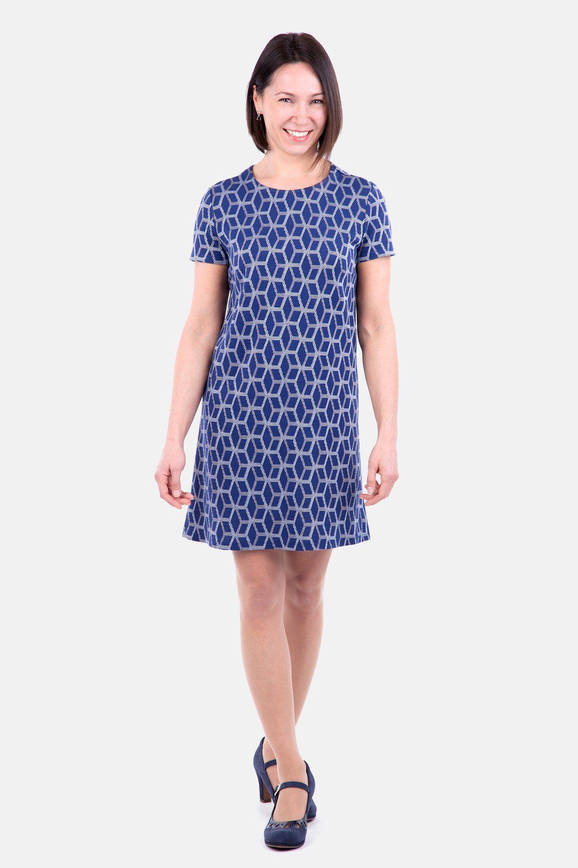 Schnittmuster A-Linien-Kleid Stretch Jacquard blau (mit