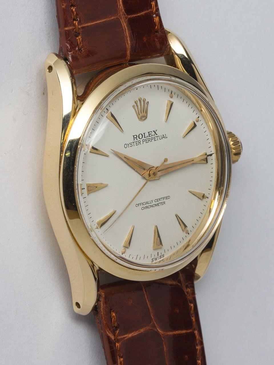 Circa 1953  Rolex Yellow Gold 'Bombe' Wristwatch Ref 6292  (via wannabuyawatch-L.A./ 1st Dibs)
