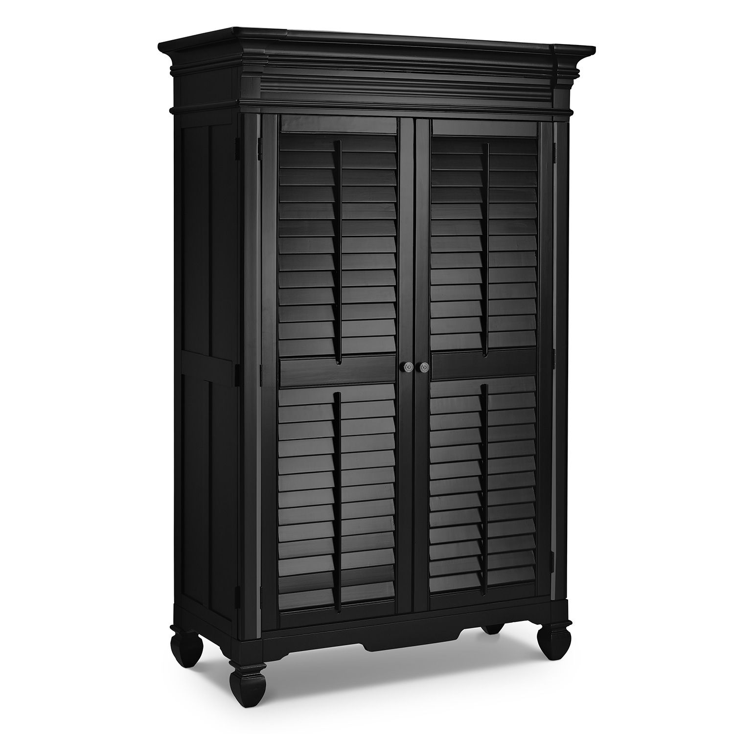 Plantation cove black armoire american signature for Plantation bedroom set