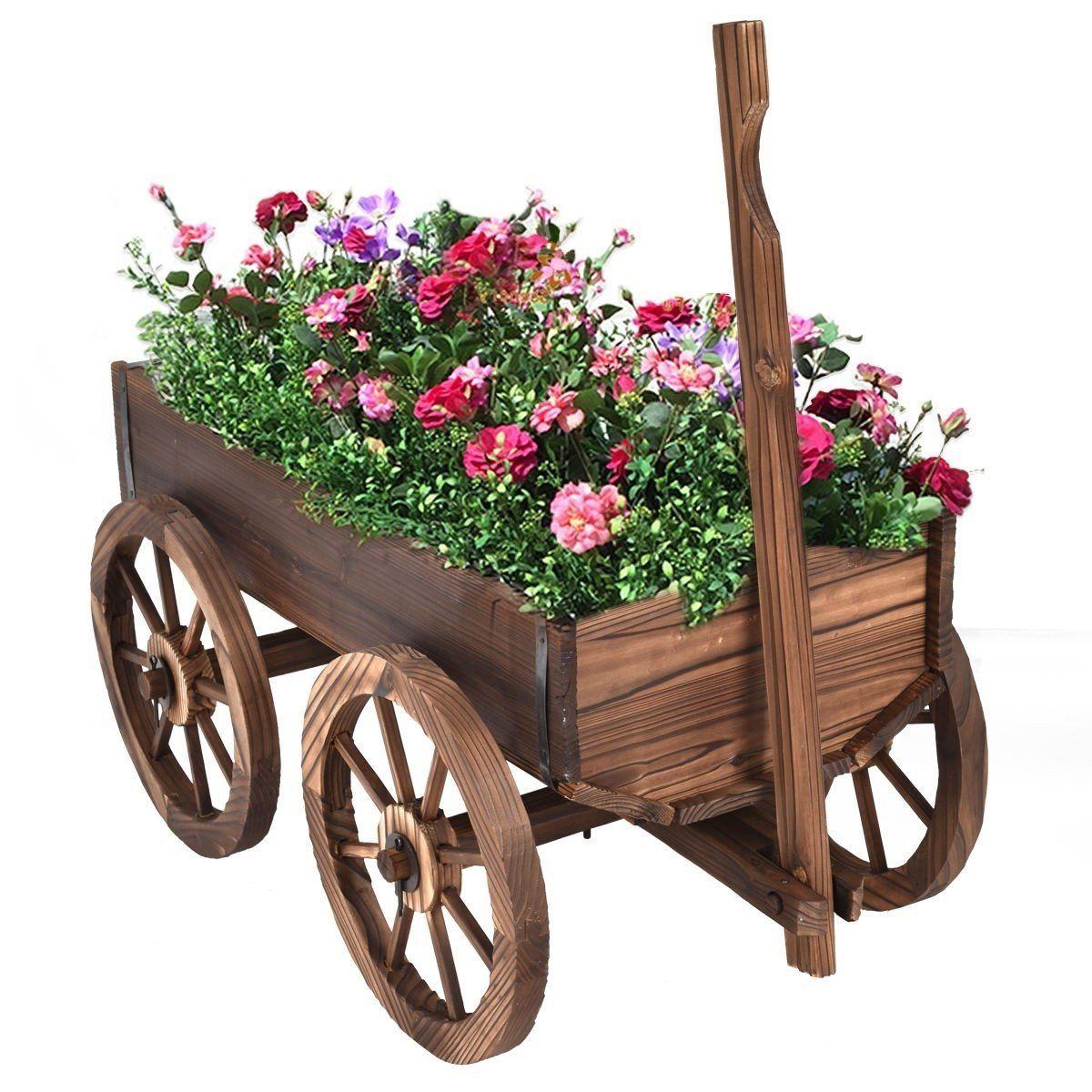Mobile Half Barrel Solid Wood Planter Box on Wooden Wheels
