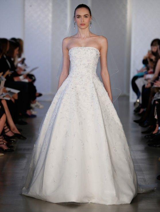 oscar de la renta spring 2018 bridal strapless straight across ...