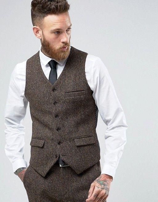 8496fa463a Traje entallado marrón con diseño de espiga en tweed Harris de 100% lana de  ASOS