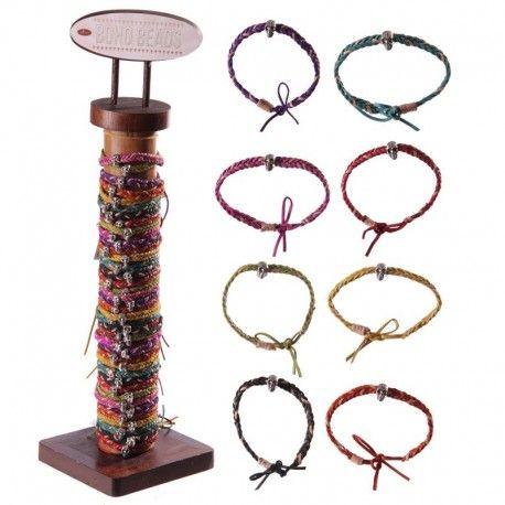 Présentoir Bracelets crânes cuir-multicolores (96 pièces)