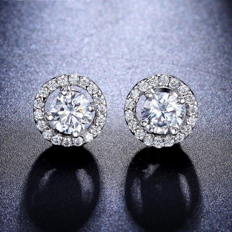 Halo CZ Diamond Stud Earrings
