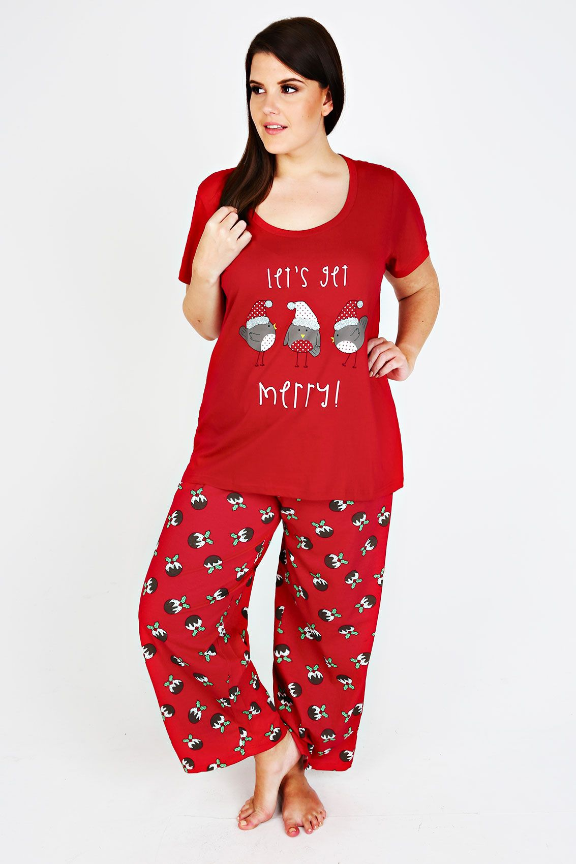 Plus Size Christmas Pajamas.Red Lets Get Merry Christmas Robin Pyjama Top Pjs