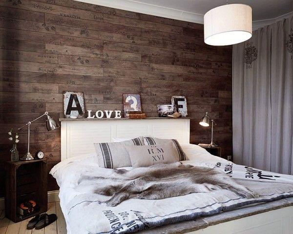 holz-wand-im-schlafzimmer-design Bedruckte Tapeten Blumen