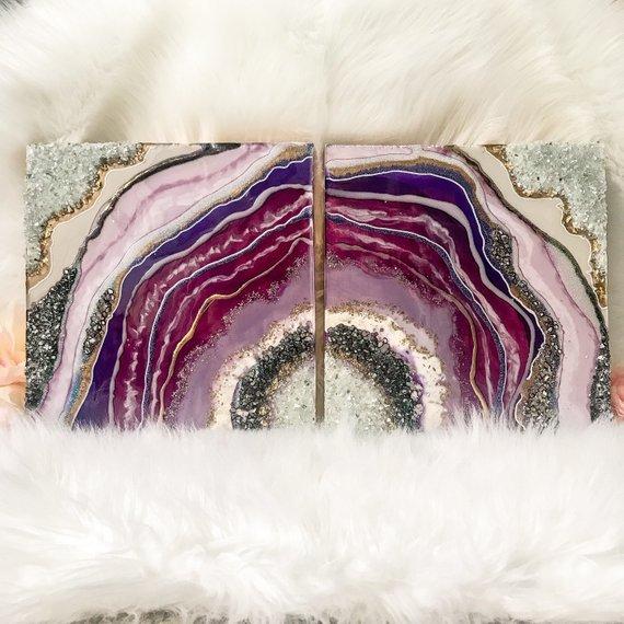 Geode Resin Art Geode Resin Painting Purple Geode Mixed Media