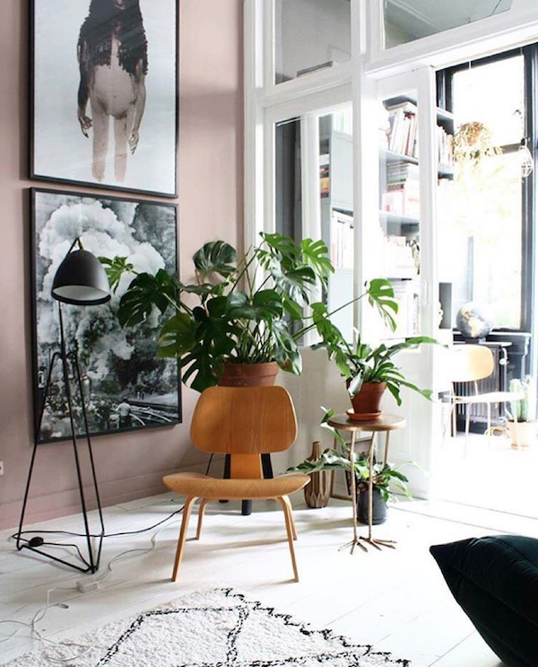A home of collector Theo Bert Pot in rich, warm tones and dusty pink.