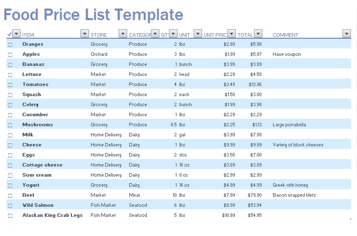 Wholesale Price List Template  Templates    Price List