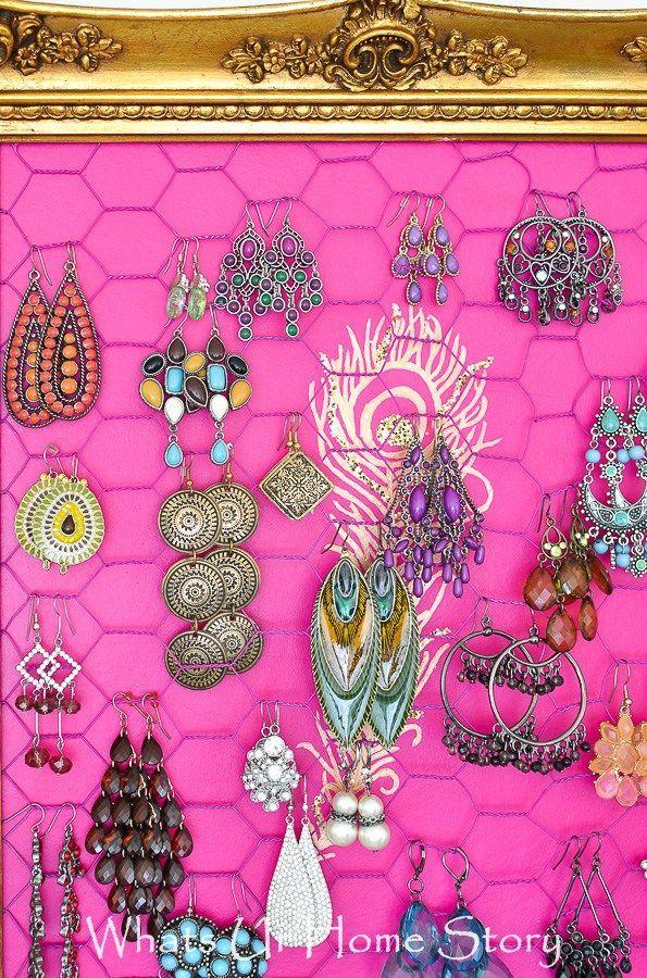 Chicken Wire Jewelry Organizer Diy earring holder Diy earrings