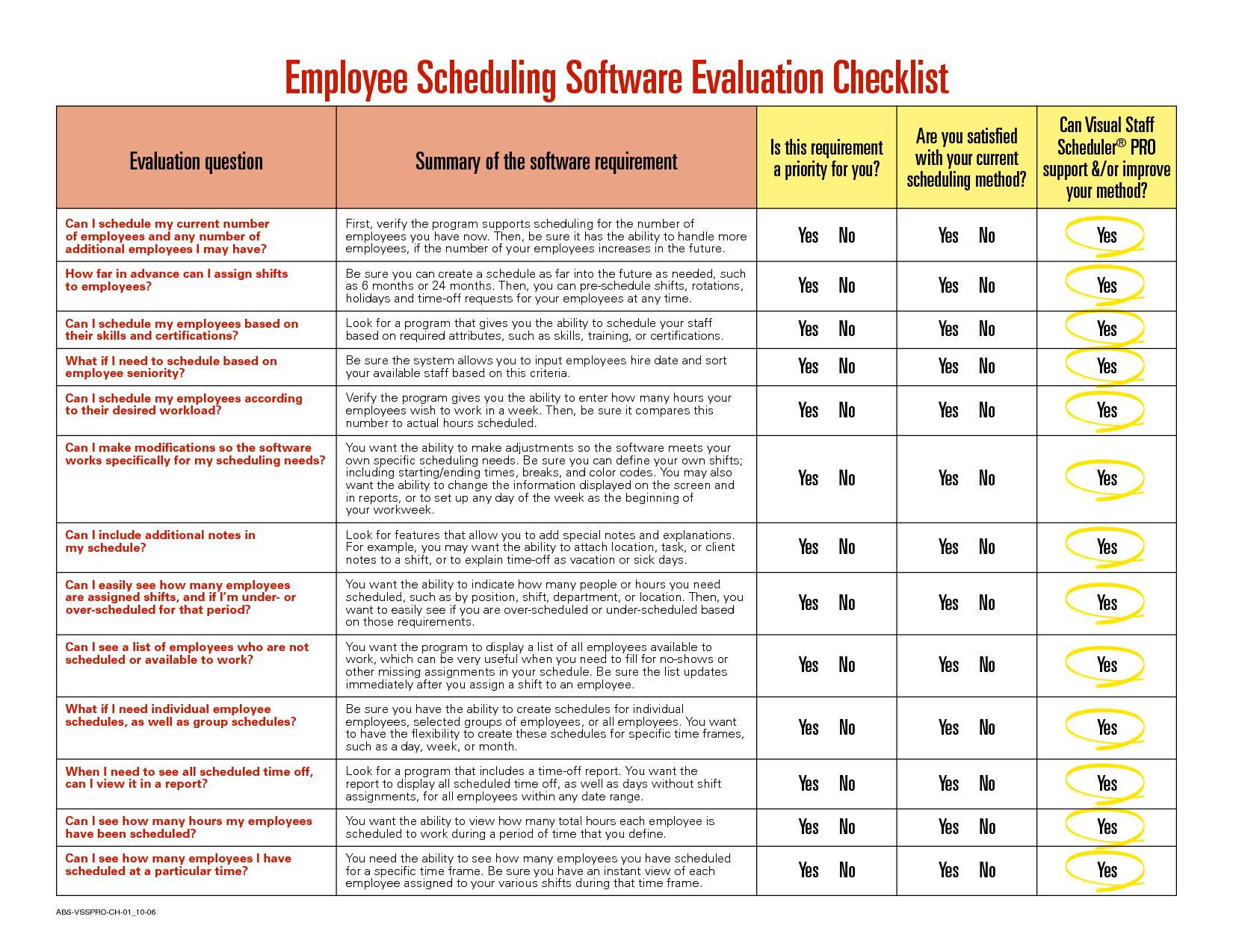 Software Evaluation Matrix   Employee Scheduling Software Evaluation  Checklist