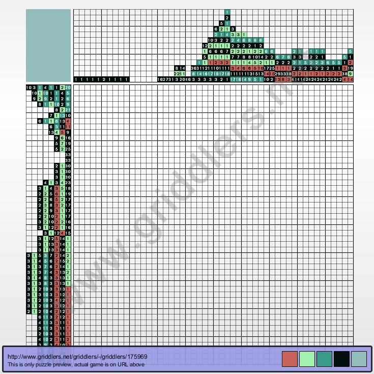 Griddlers Puzzle 175969 Bulba Fett or BobaSaur