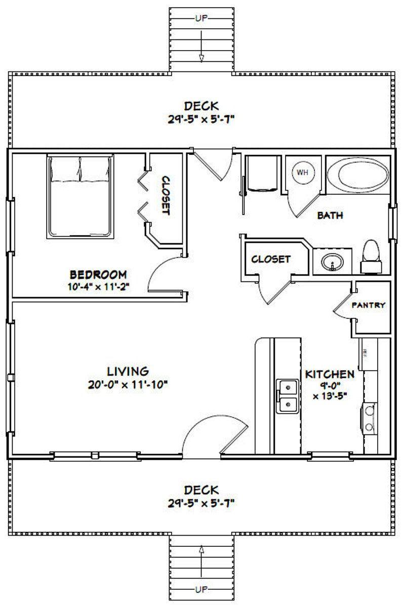 30x24 House 1Bedroom 1Bath 720 sq ft PDF Floor Plan