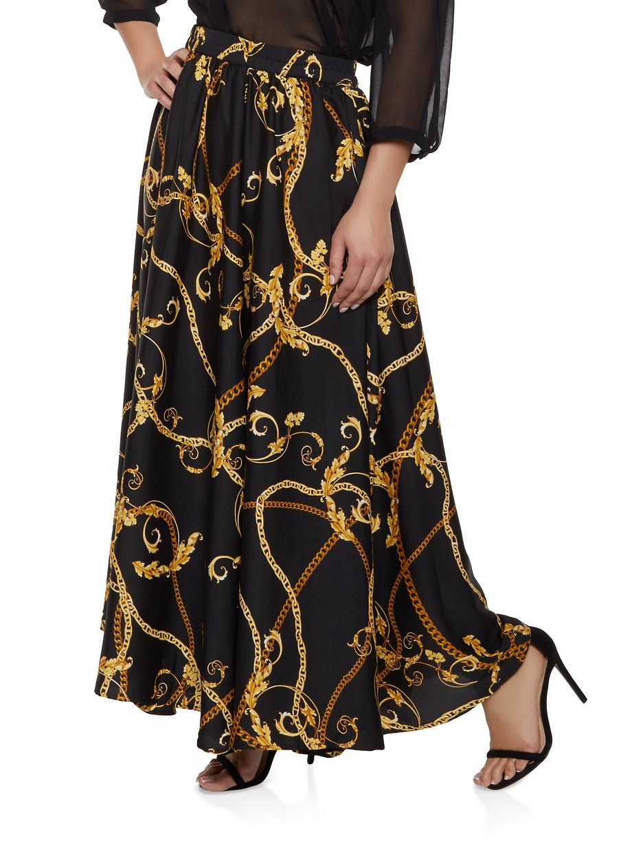 b767269458f Plus Size Chain Print Maxi Skirt in 2019 | Products | Printed maxi ...