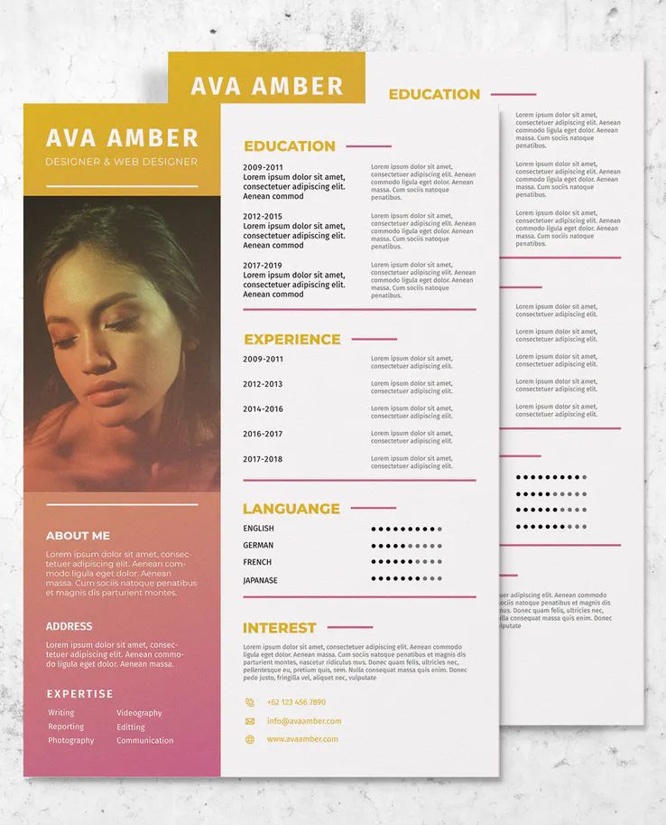 Web designer resume cv template ai eps web designer