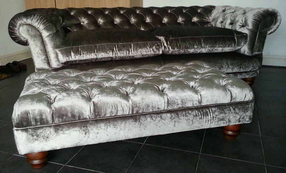 Crushed Velvet Silver Chesterfield Chatsworth Sofa Stools