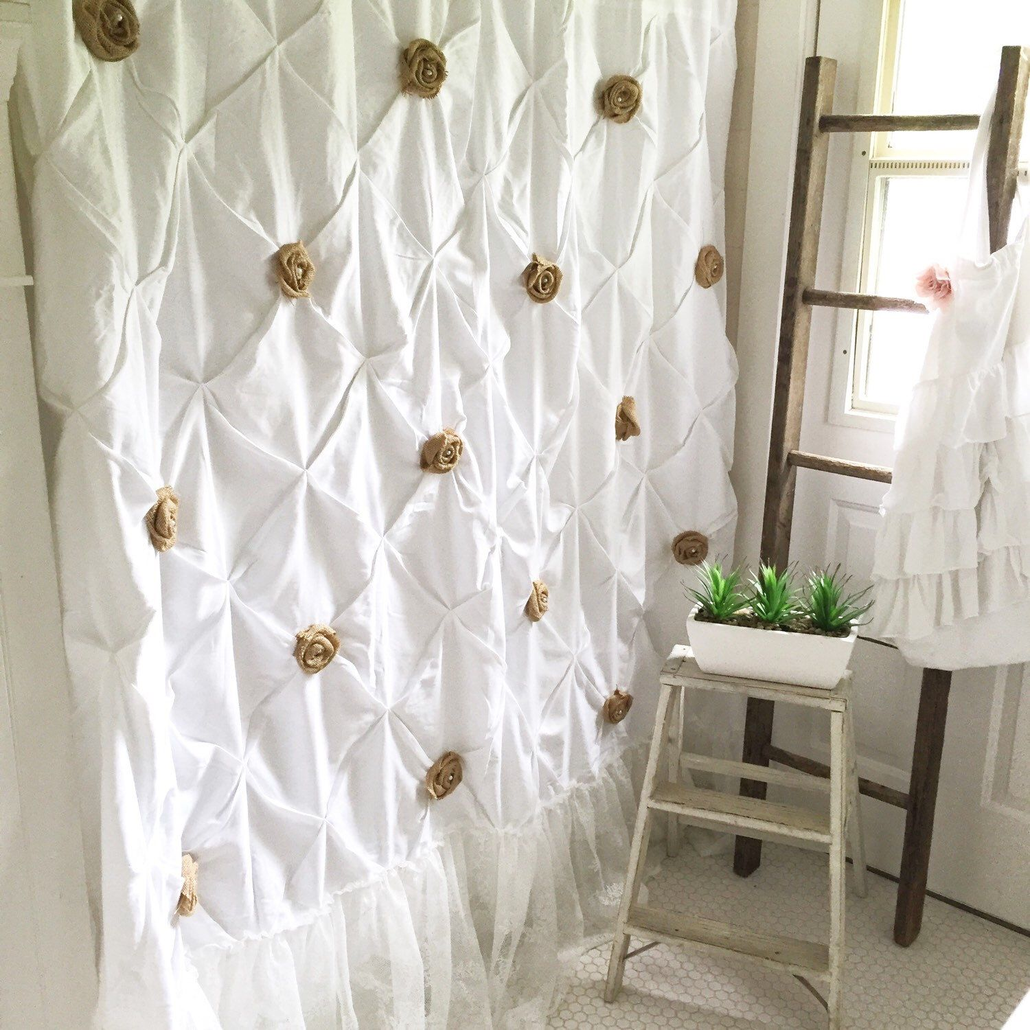 Burlap Ruffle Shower Curtain White Cotton With Handmade Rosettes And
