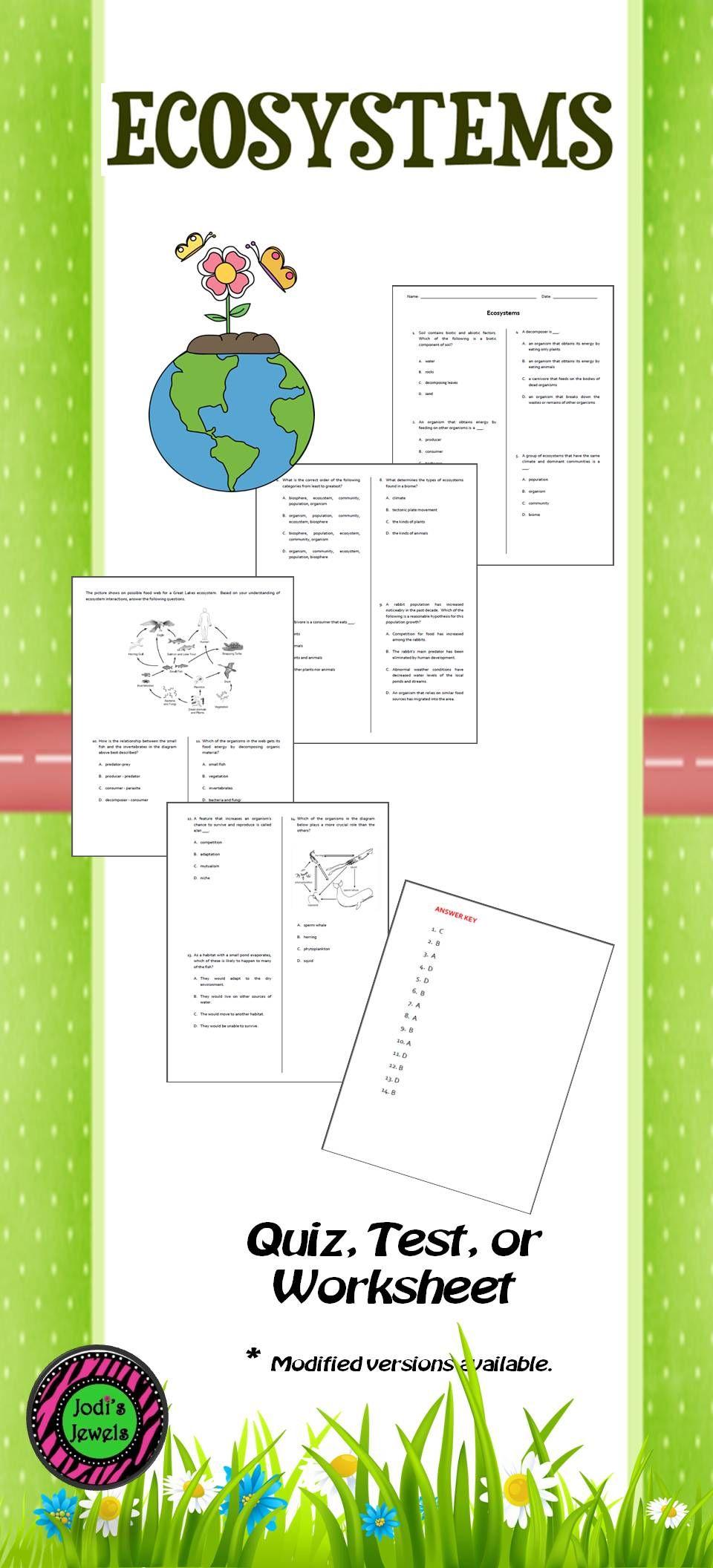 Ecosystems Quiz, Test or WS