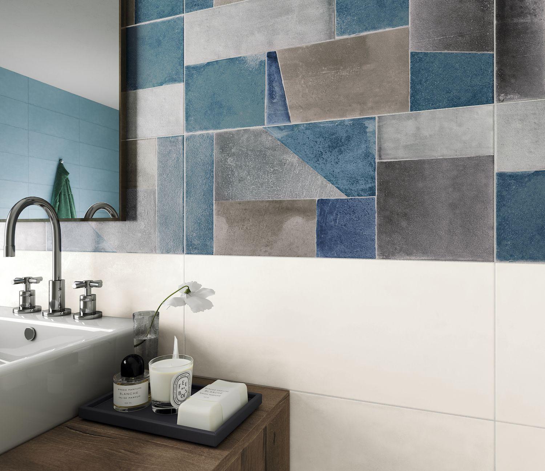 Décor géométique mural faïence salle de bain 18x18,18 Montmartre