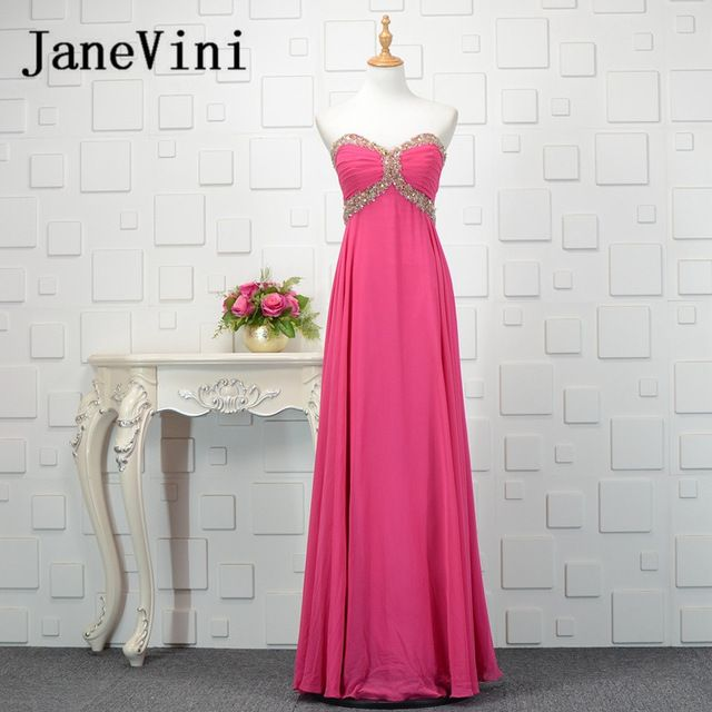 JaneVini Sequins Beads Fuchsia Chiffon Long Bridesmaids Dresses ...