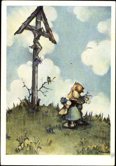 Artist Postcard Hummel, Beim Feldkreuz, Kinder, Blumen