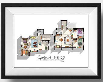 Friends Poster Print Monica Geller Apartment Floor Plan Digital Download Wall Art Tv Show Minimalist Blueprint Floor Plan Art Friends Apartment Friends Tv Show Gifts Friends Tv Show