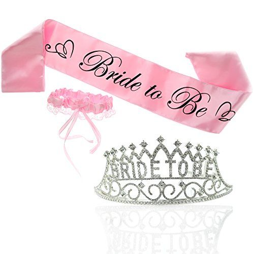 Bride To Be Tiara And Pink Bride To Be Sash And Free Pink Garter Premium Bachelorette Par Bachelorette Party Kits Bride To Be Sash Bachelorette Party Supplies
