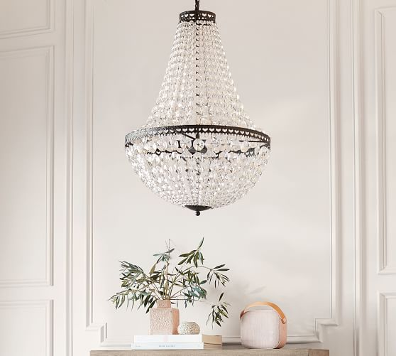 Mia Faceted Crystal Chandelier Wood Bead Chandelier