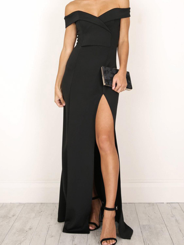 Black Off Shoulder Folded Sweetheart Split Maxi Dress Black Mermaid Prom Dress Split Maxi Dress Maxi Dress [ 1500 x 1125 Pixel ]