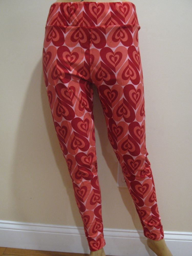 Women's Clothing Lularoe Heart Leggings One Size Red Ladies Clothing, Shoes & Accessories
