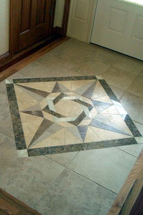 Custom tile and stone inlay medallions in Fort Collins, Colorado