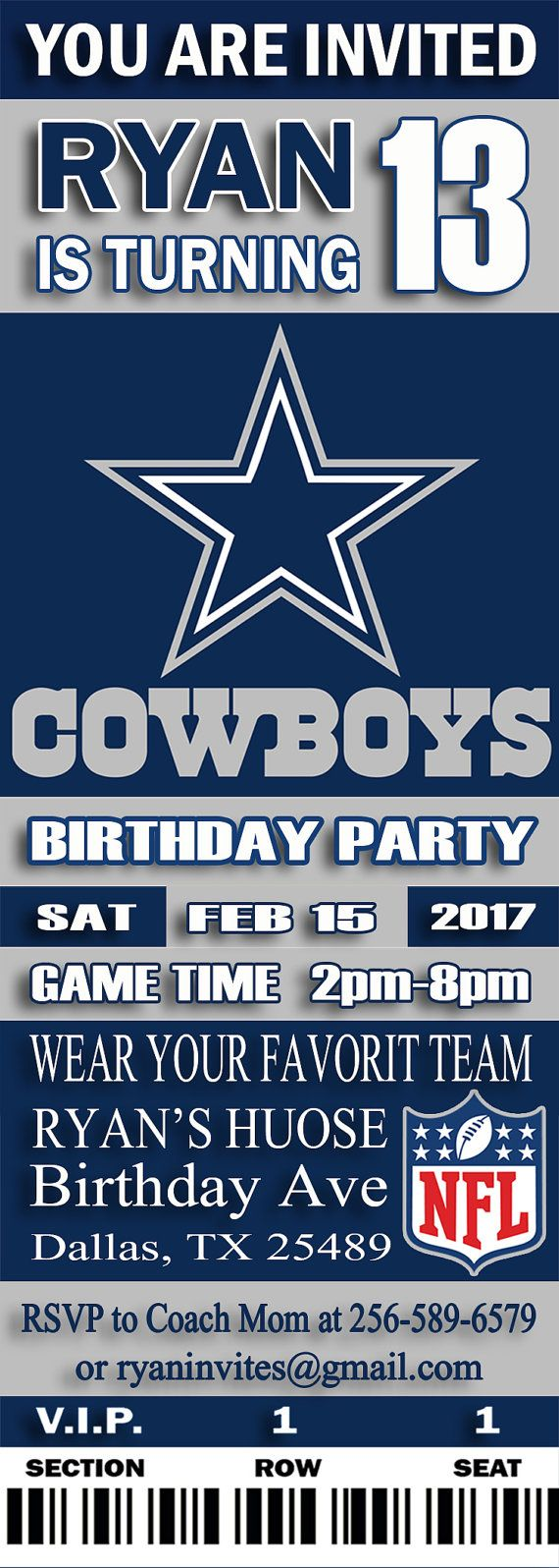Dallas cowboys birthday invitation football by digitalpartyinc dallas cowboys birthday invitation football by digitalpartyinc filmwisefo