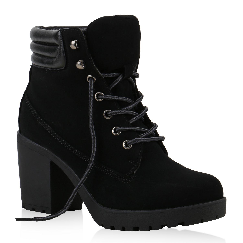 Damen Worker Boots Profil Sohle Block Absatz Stiefeletten 811964 Stiefeletten Schuhe Damen Damenschuhe
