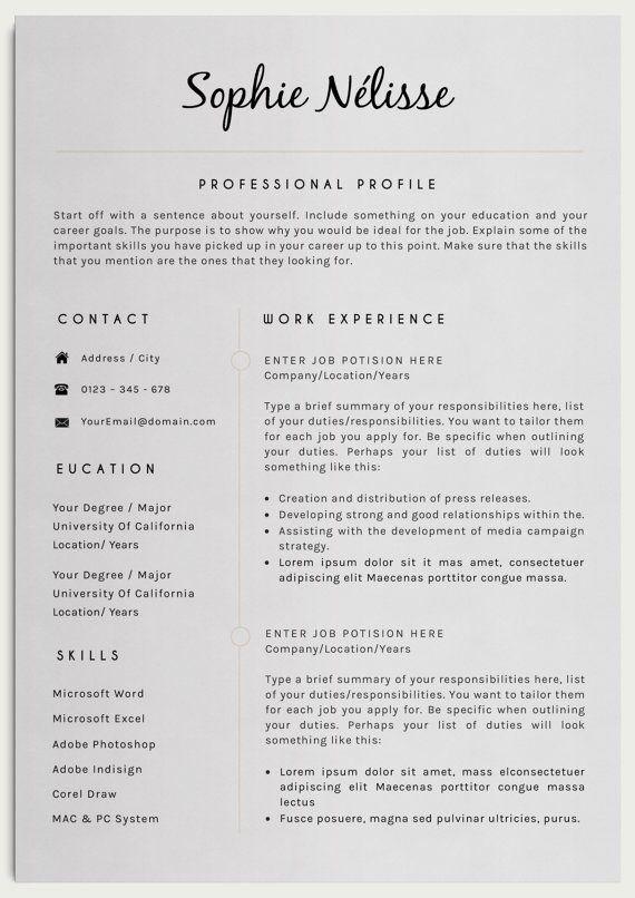 resume template elegant resume template for word cv