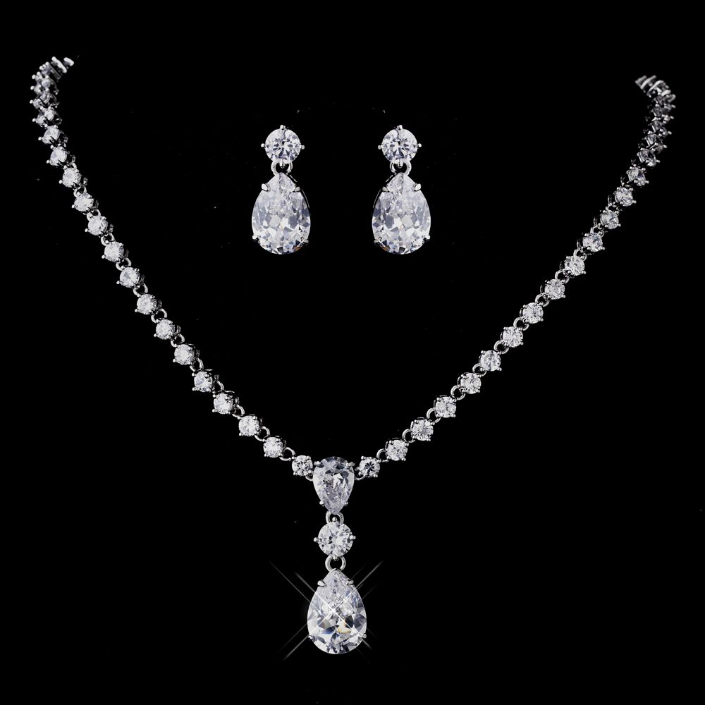 Silver Clear CZ Necklace Earrings Set Bridal Jewelry Set