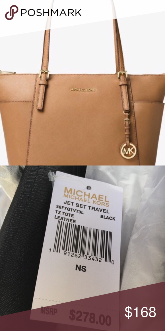 e47ab44aab Michael Michael Kors Jet Set Large Tote Michael Kors Jet Set Large Top-zip  Saffiano Leather Tote Colors Available  Acorn (Brown)