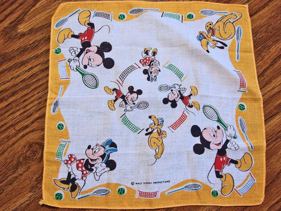 Mickey Mouse Handkerchief Vintage Child's Hankie Walt Disney Productions Mickey and Minnie Mouse Playing Tennis by TreasuresPast4U