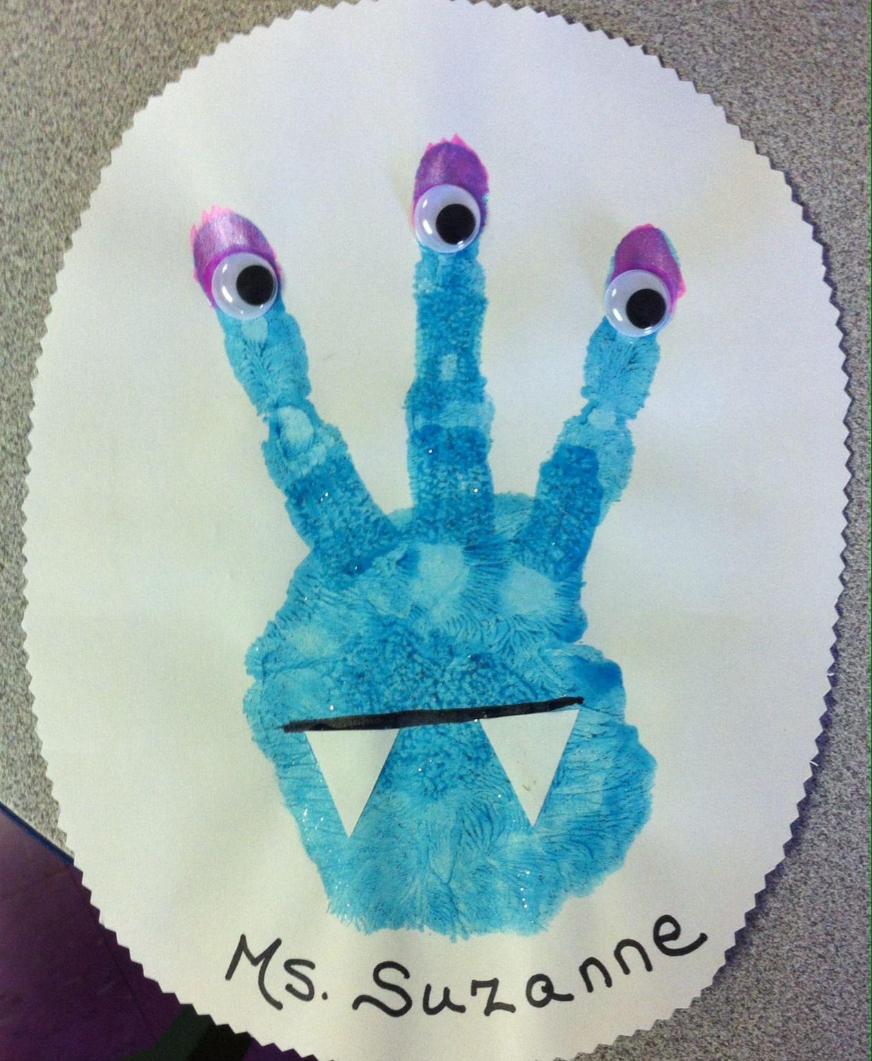 Alien Monster Handprint Craft For Preschoolers