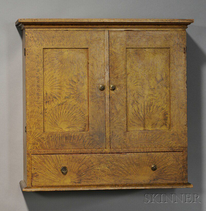 Paint Decorated Pine Paneled Wall Cupboard New England Early 19th C The Nail Constructed Painting Antique Furniture Wall Cupboards Early American Furniture