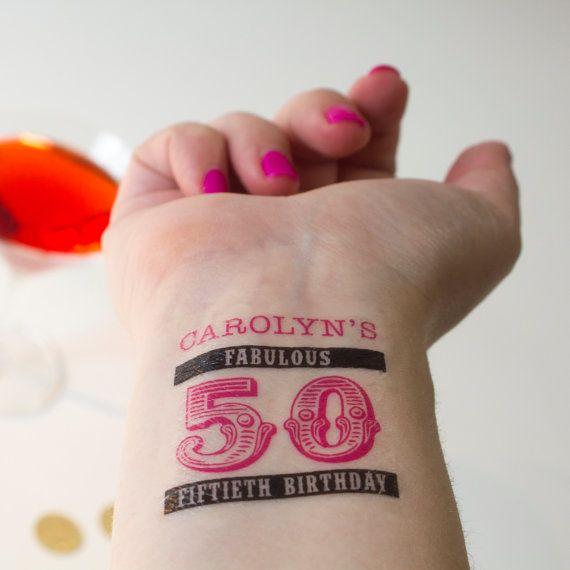 50th Birthday Tattoos Personalized Temporary by KristenMcGillivray ...