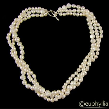 Euphoria Boutique Triple Row Freshwater Pearl Necklace