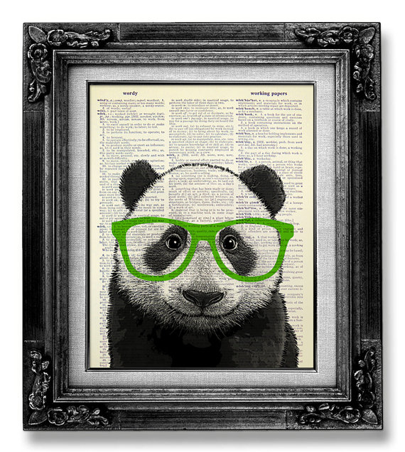 PANDA Art Green Glasses, Cute Home Office Decor, GEEKERY