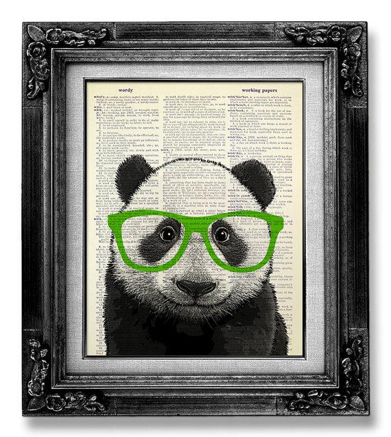 PANDA Art Green Glasses, Cute Home Office Decor, GEEKERY