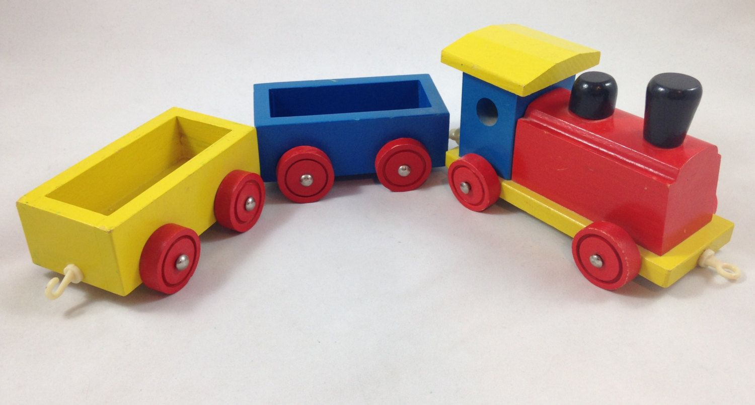 Wooden Toy Train With Two Cars Vintage Colorful Wood