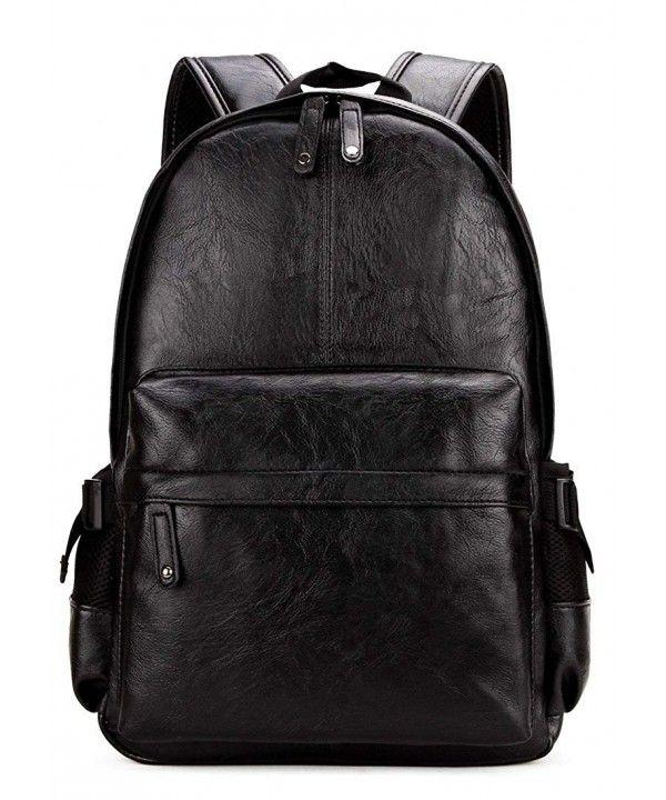 Vintage PU Leather Backpack School College Bookbag Laptop Computer ... 178e5c0f32ae6