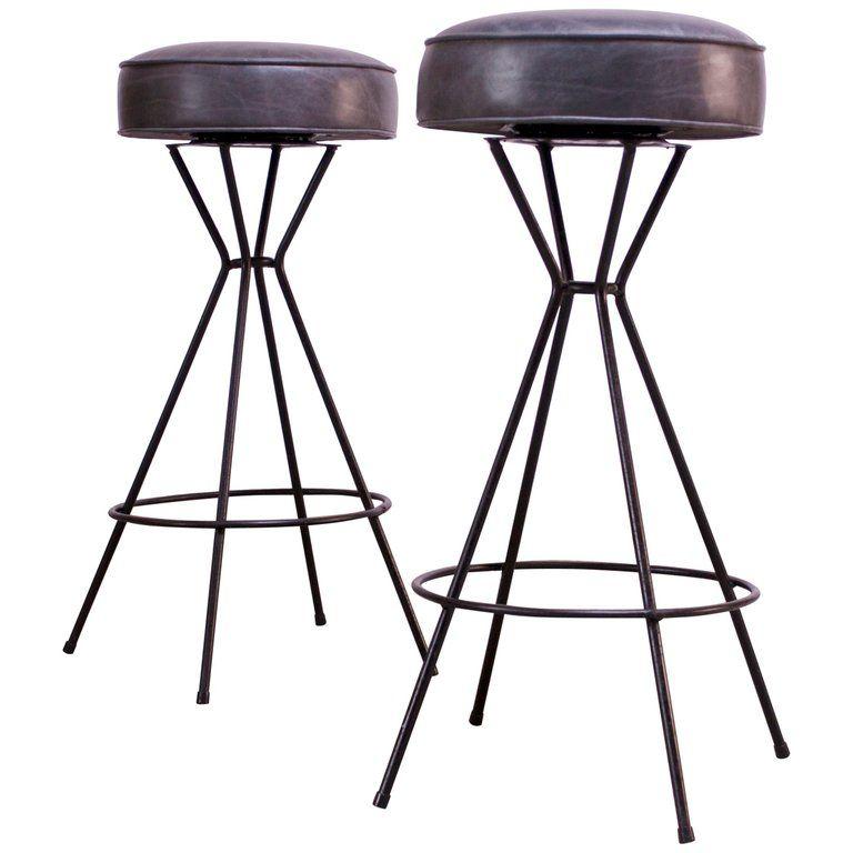 Marvelous Pair Of Mid Century Modern Wrought Iron And Leather Swivel Inzonedesignstudio Interior Chair Design Inzonedesignstudiocom