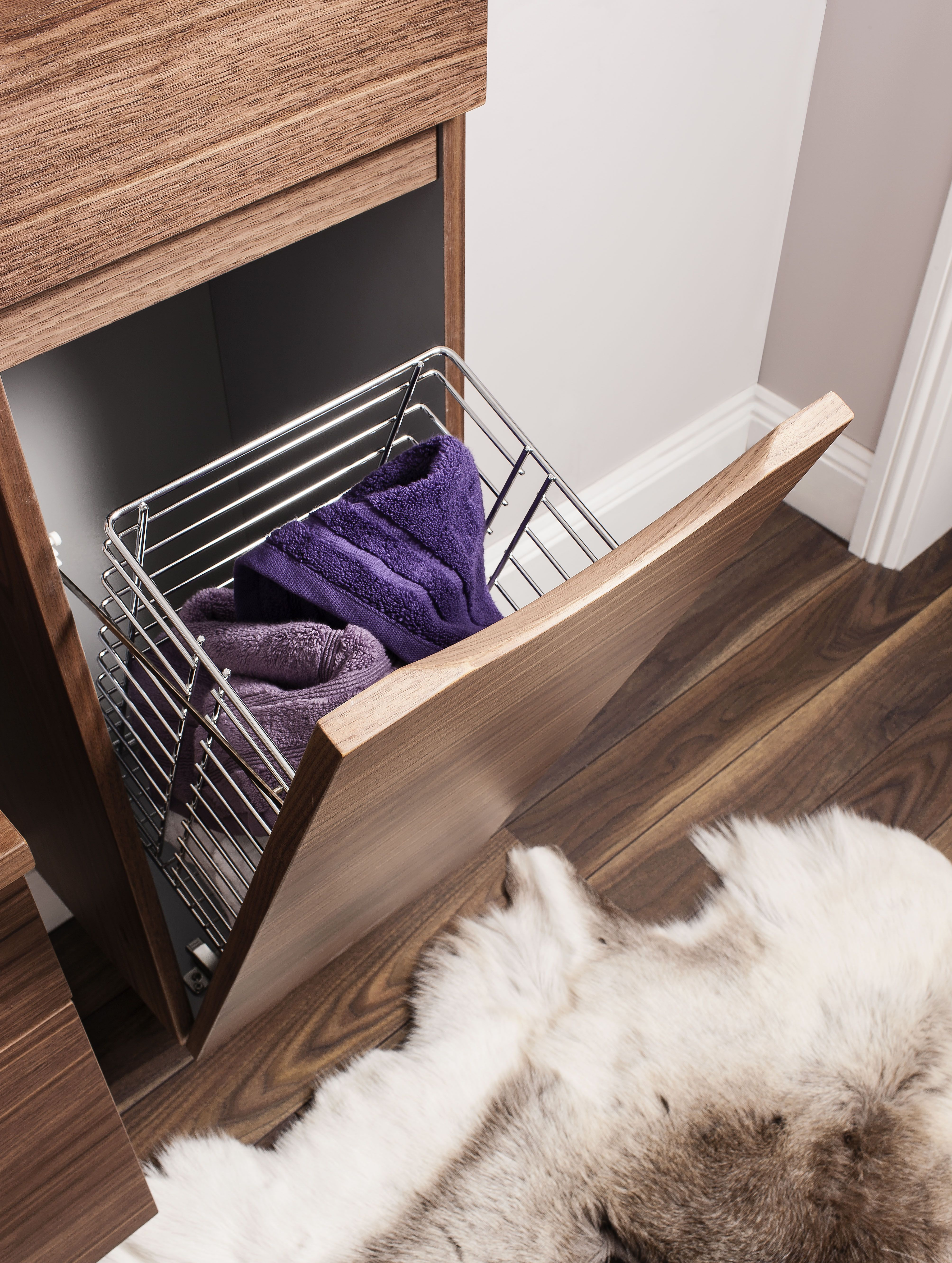 Glide II American Walnut Bathroom Furniture Tower Storage ...