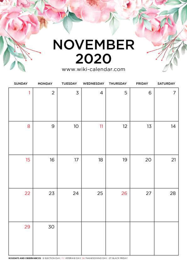 Free Printable November 2020 Calendar Wiki Calendar Com In 2020 August Calendar November Calendar February Calendar